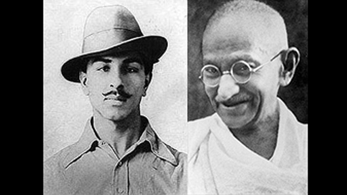 Bhagat Singh and Mahatma Gandhi. (Photo Courtesy: Wikimedia Commons)