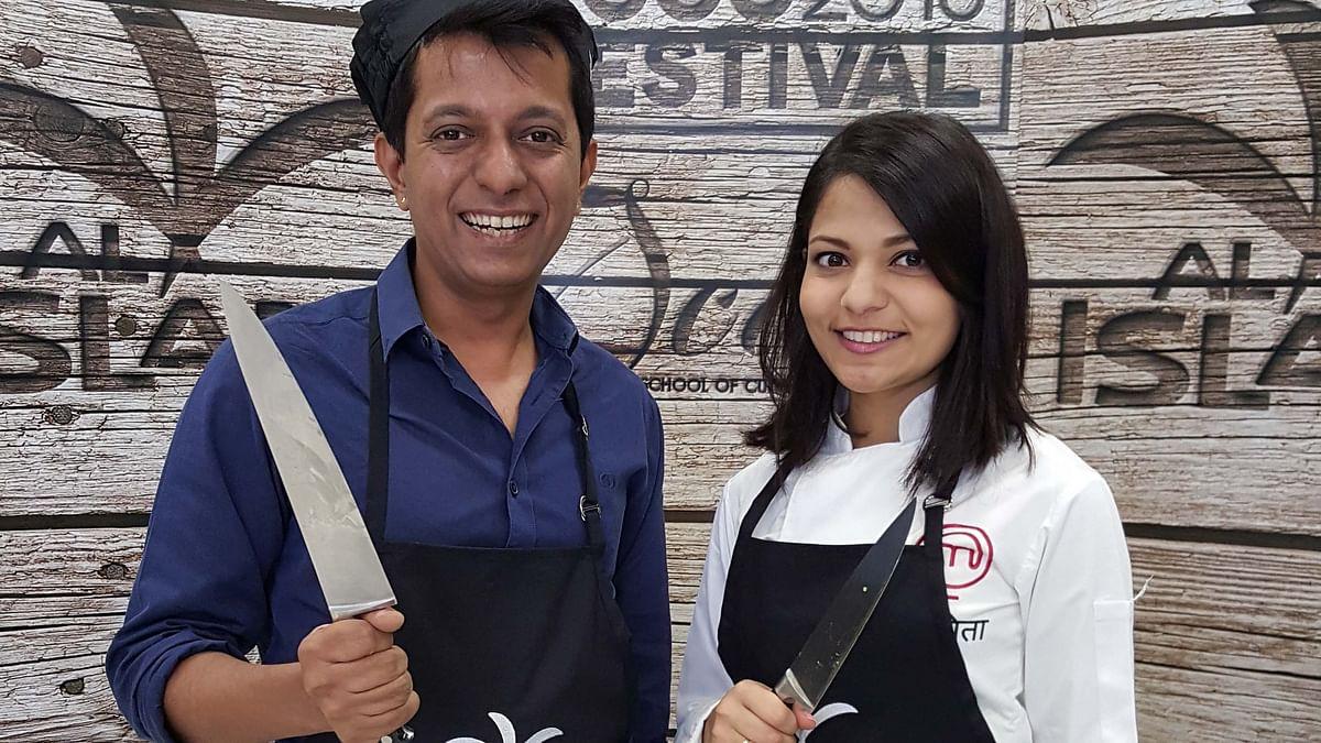 Rohit Khilnani and Nikita Gandhi at the Dubai Food Festival (Photo: The Quint)