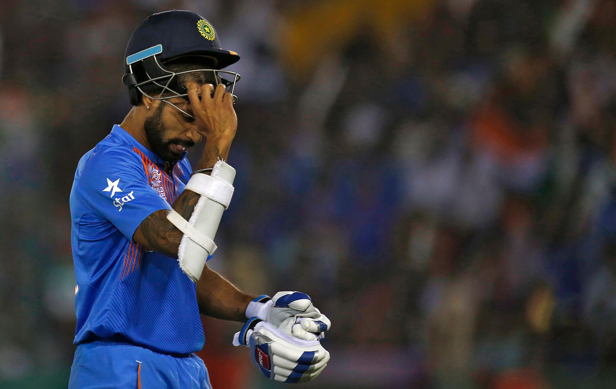 Disappointed Dhawan after his dismissal against Australia (Picture: Reuters)