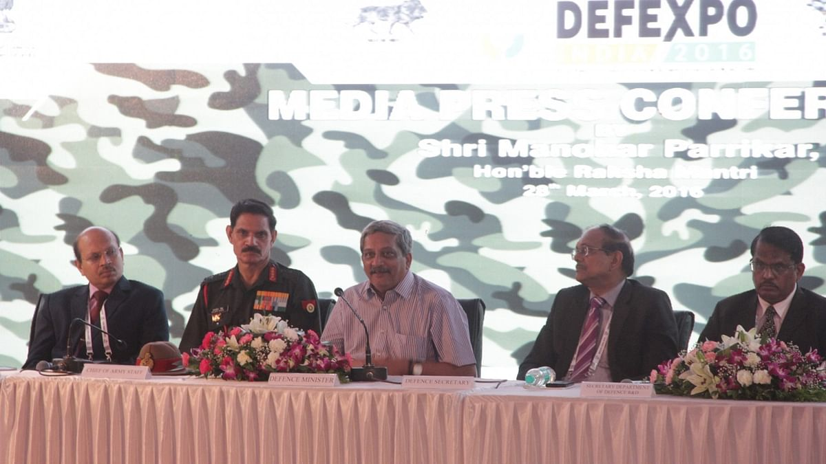 Defence Minister Manohar Parrikar's  during the inauguration of Defence Expo 2016 at the Naqueri plateau in south Goa on Monday, 28 March 2016. (Photo: IANS)
