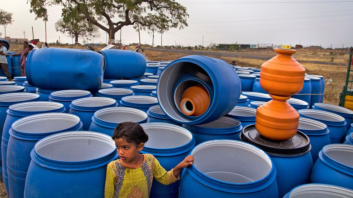 Barrels for water storage. (Photo Courtesy: Subrata Biswas/Greenpeace)