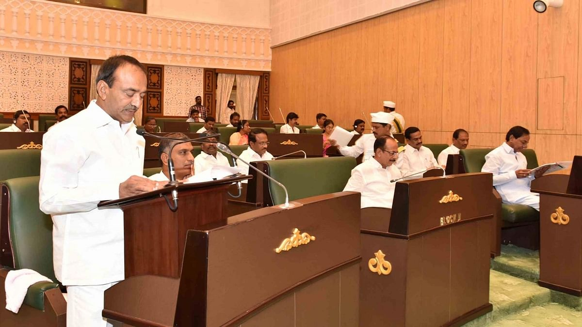 Telangana Finance Minister Etela Rajender presents state budget 2016-17 at Telangana assembly in Hyderabad, on March 14, 2016. (Photo: IANS)