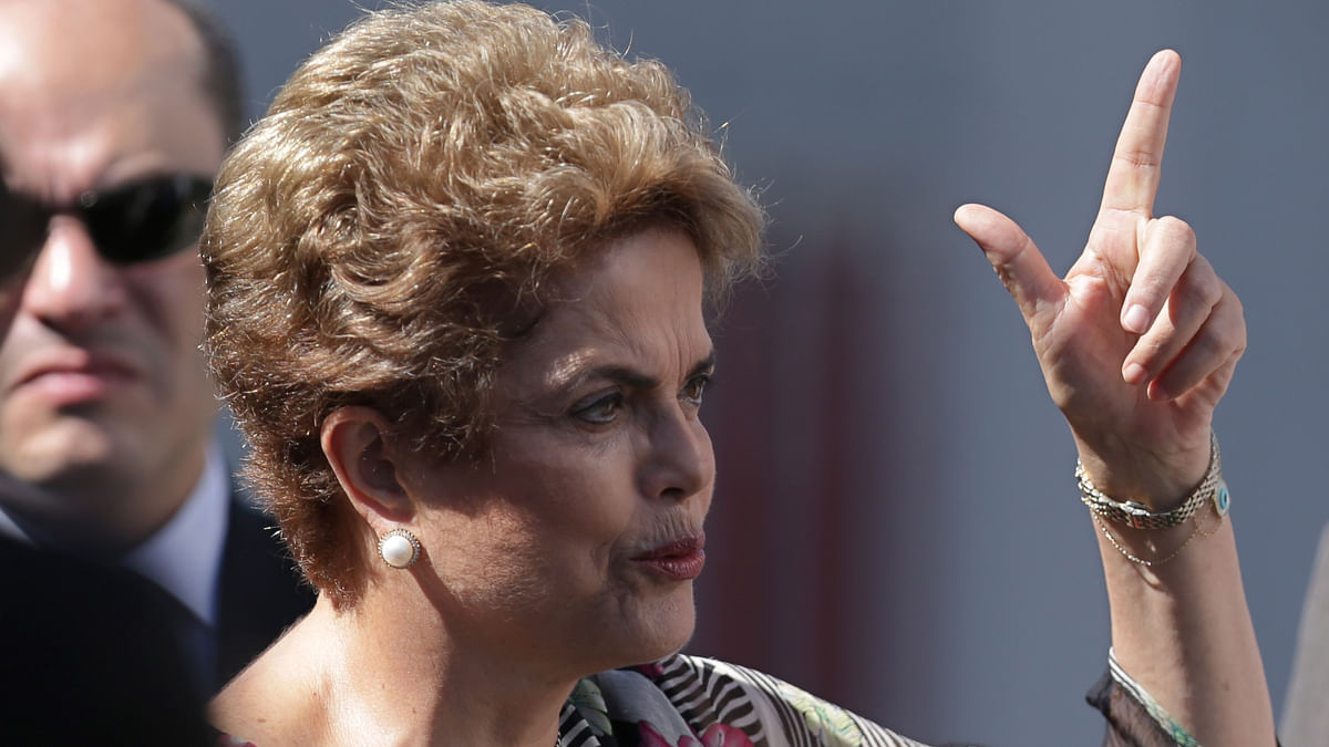 Brazil's President Dilma Rousseff speaks during a visit  for the 2016 Olympic Games, in Brasilia, Brazil. (Picture Courtesy: AP Exchange)