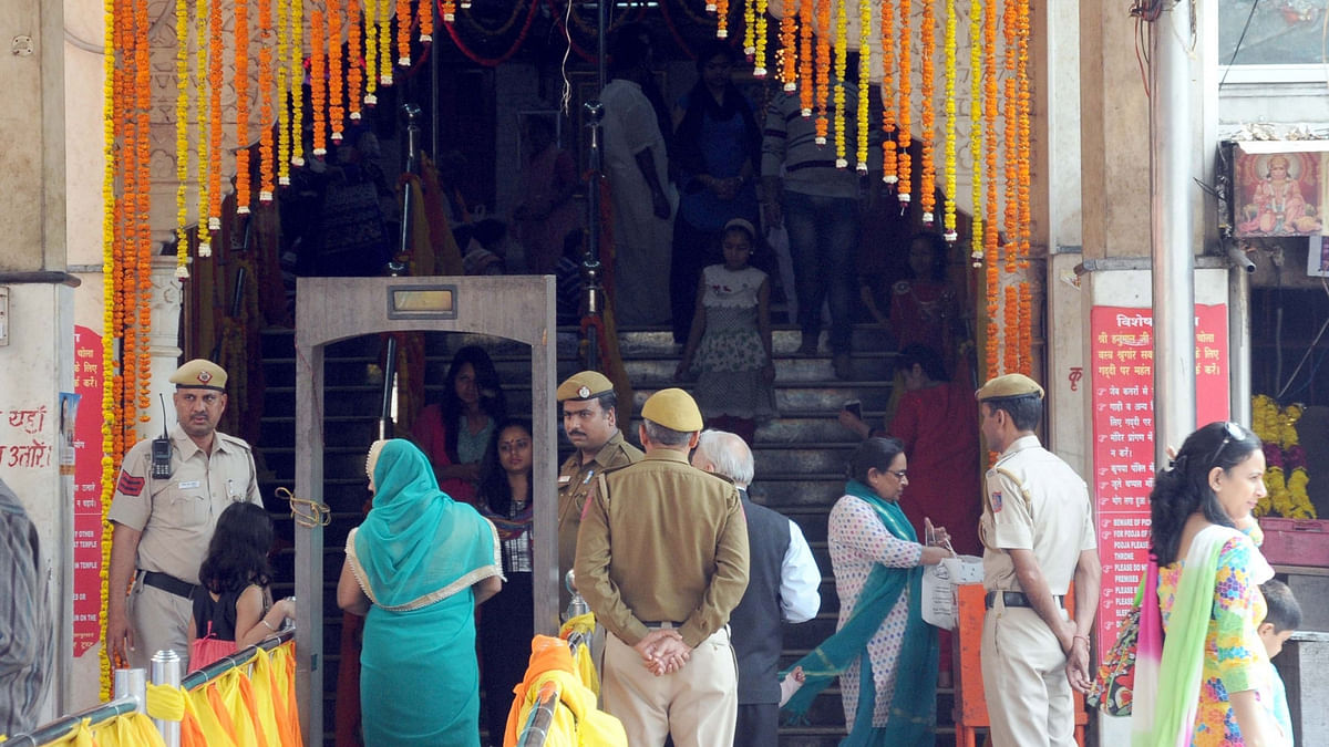 Security was strengthened  at Hanuman Mandir in New Delhi after the Centre sounded a high alert amid reports that 10 fidayeen militants  entered Gujarat on March 7, 2016. (Photo: IANS)