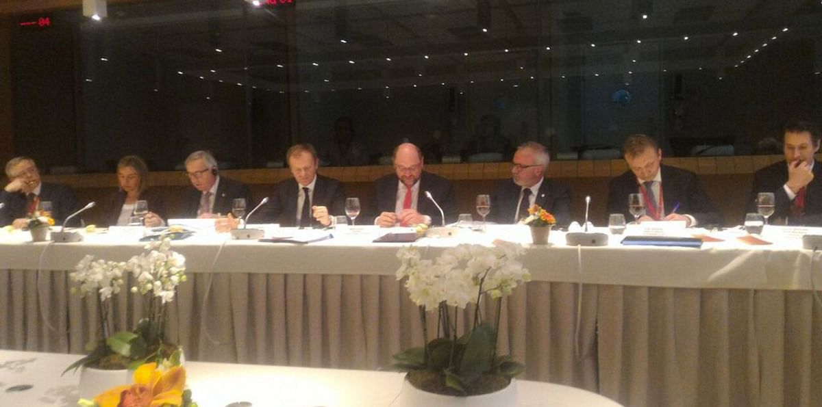 "President of European Parliament and the President of the European Investment bank join the dinner with Presidents of European Presidents with PM Modi on Wednesday, 30 March 2016. (Photo Courtesy: <a href=""https://twitter.com/MEAIndia/status/715217759718629376"">Twitter.com/@MEAIndia</a>)"