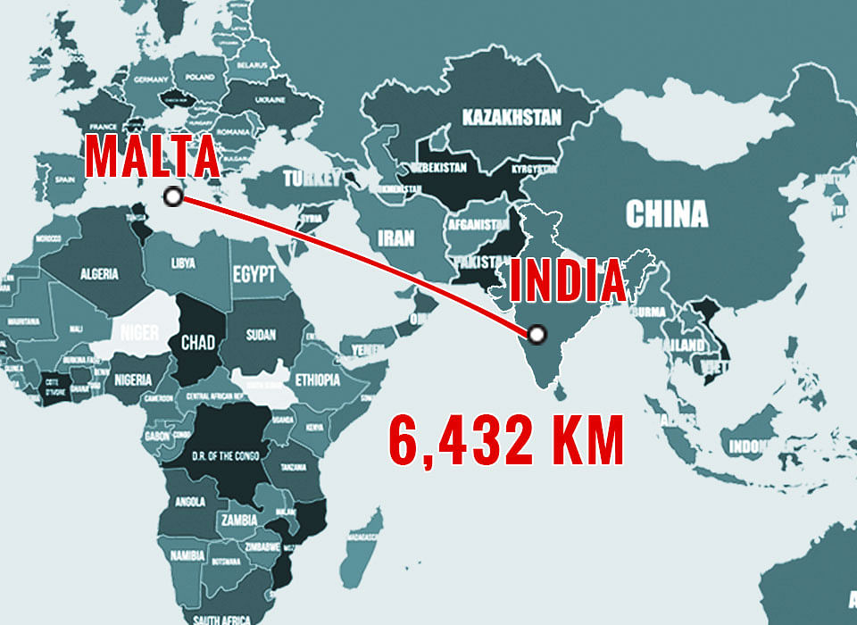 World Map representing distance between India and Malta (Photo: The Quint)