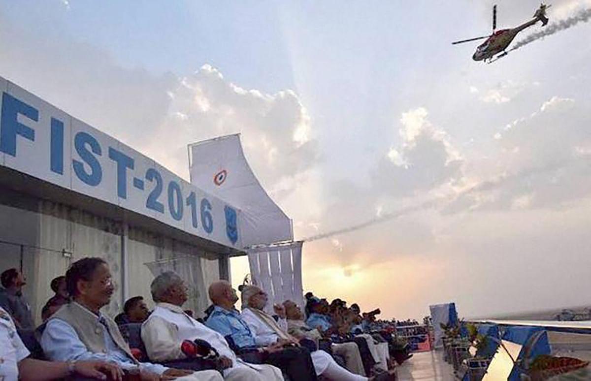 President Pranab Mukherjee, Prime Minister Narendra Modi and others at the IAF event. (Photo: PTI)