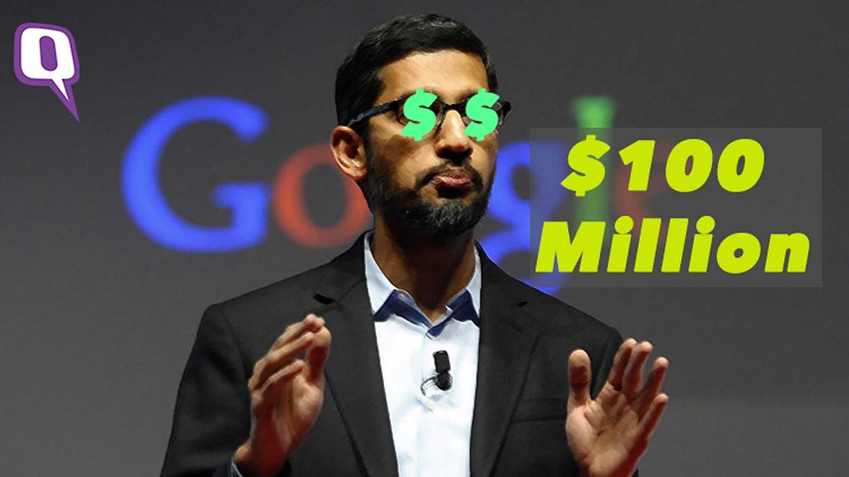 Google CEO Sundar Pichai. (Photo: Reuters/Altered by<b> The Quint</b>)