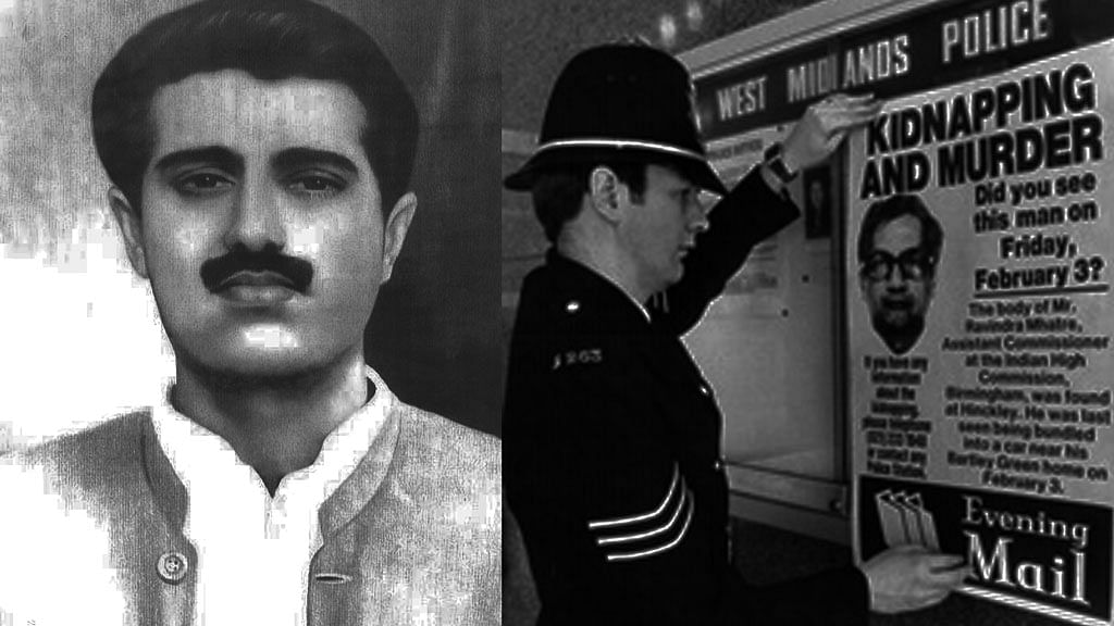 JKLF founder Maqbool Butt and Scotland Yard policeman putting out a lookout  poster after Ravindra Mhatre's kidnapping. (Photo: Treated by <b>The Quint</b>)