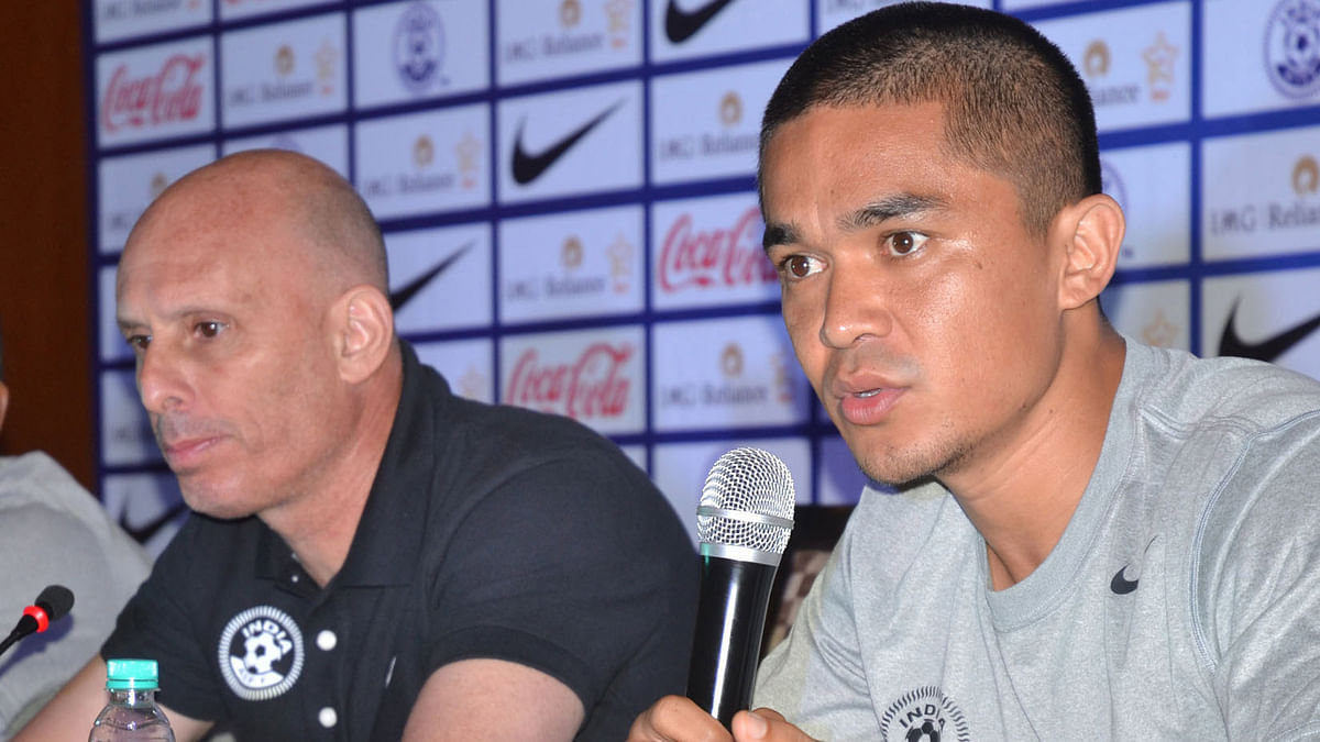 File photo of Sunil Chhetri and India's coach Stephen Constantine at a press conference. (Photo: IANS)