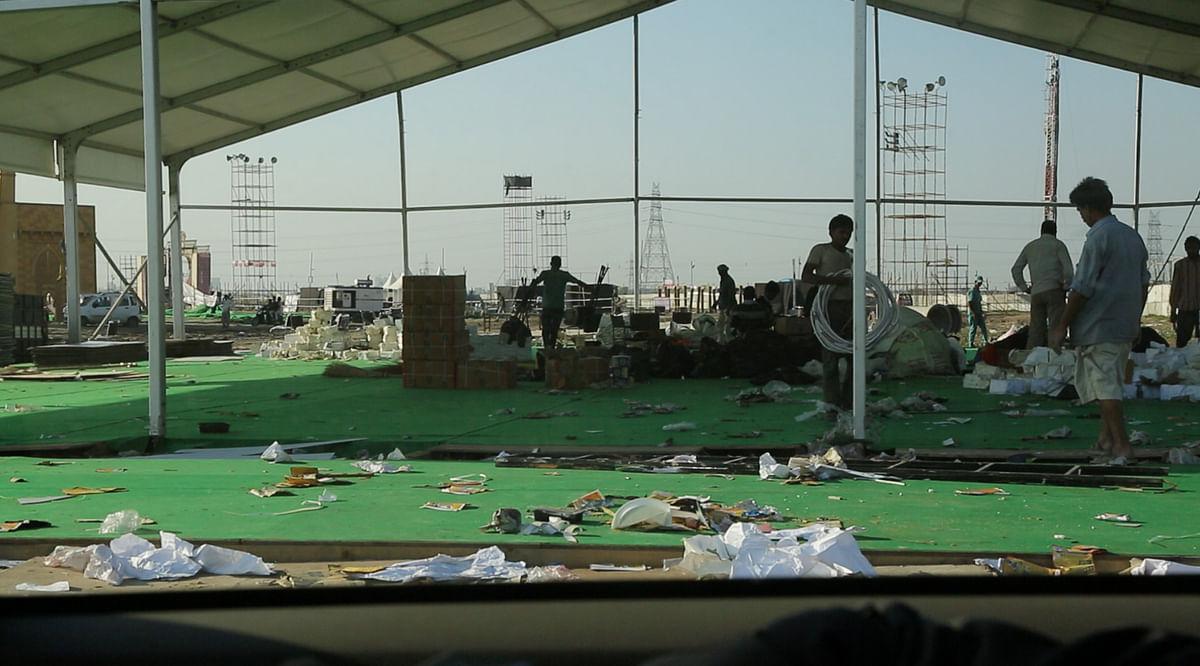 Plastic waste at the venue of World Cultue Festival. (Photo:Sanjoy Deb)