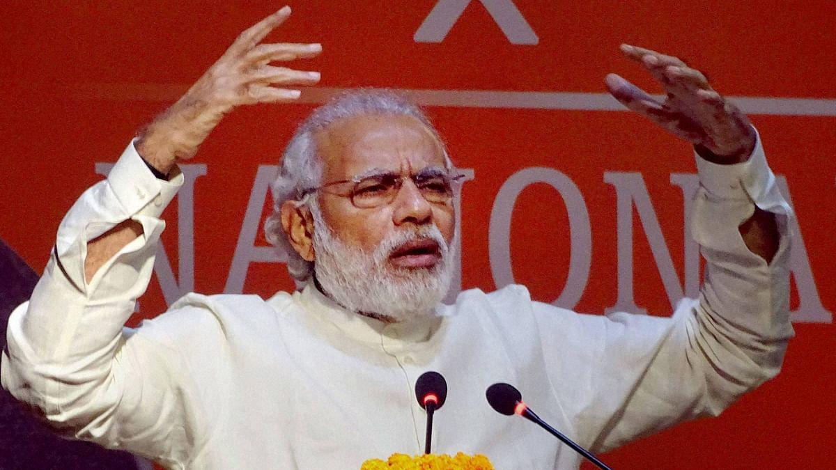 Prime Minister Narendra Modi addresses BJP's national executive meeting in New Delhi on Sunday. (Photo: PTI)