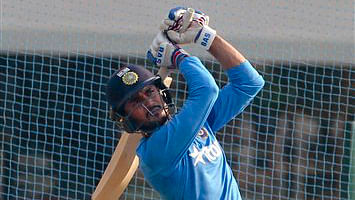 Manish Pandey bats during a practice session ahead of their ICC World T20 semi-final match against West Indies in Mumbai (Photo: AP)