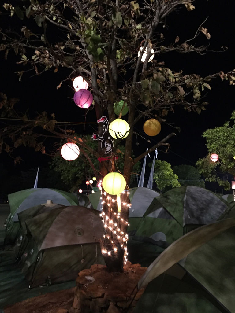 It was a huge, open space with bright fairy lights strung up on balloons. (Photo Courtesy: Radhika Sharma)