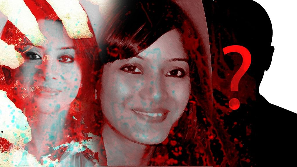 Sheena Bora (centre) and her mother Indrani Mukerjea (left). (Photo altered by <b>The Quint</b>)