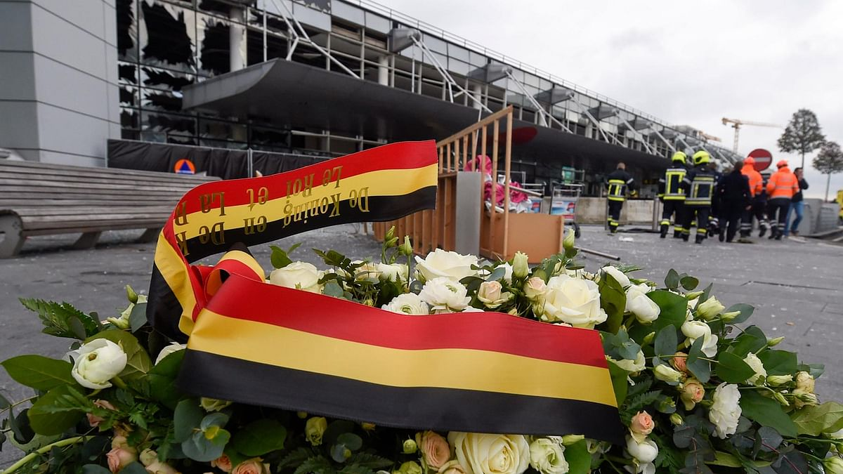 A wreath  placed in front of the damaged Zaventem Airport terminal in Brussels on Wednesday, March 23, 2016. (Photo: AP)