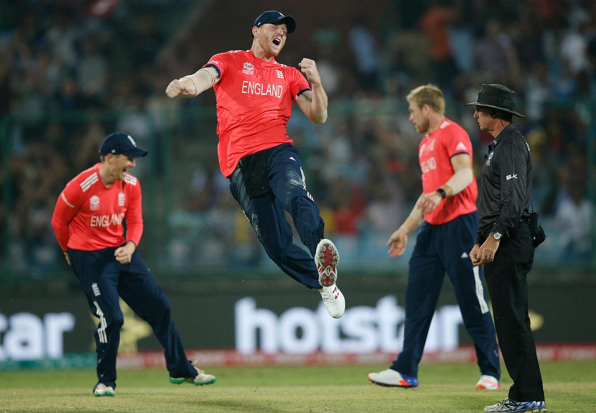 England's Ben Stokes celebrates  after running out Sri Lanka's Lahiru Thirimanne. (Photo: AP)