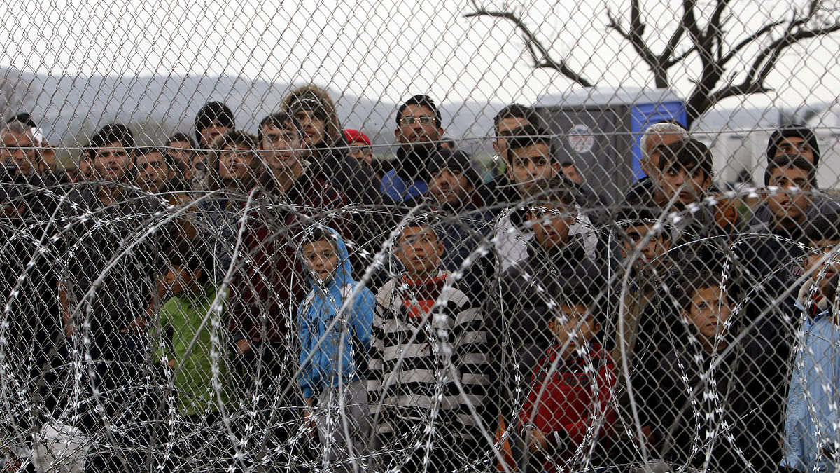 Restrained Refugee Children at Military Bases in America