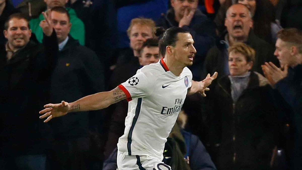 PSG's Zlatan Ibrahimovic celebrates scoring his side's second goal during the round of sixteen second leg Champions League match between Chelsea and Paris Saint-Germain (Photo: AP)