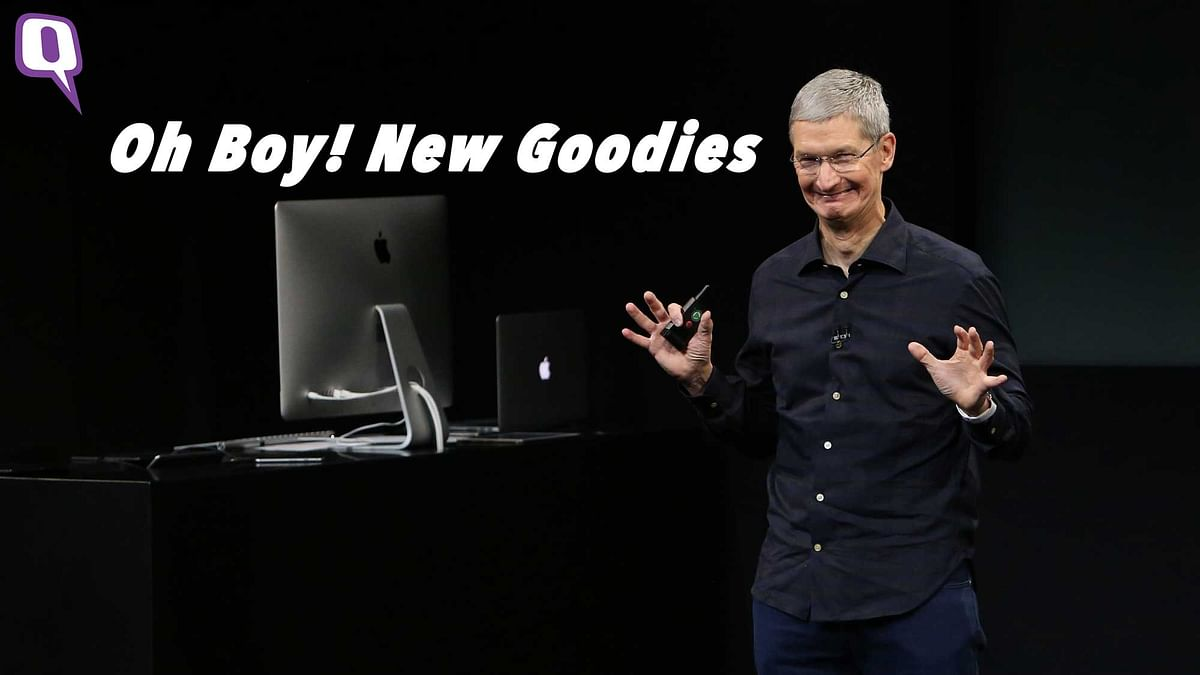 Apple's CEO, Tim Cook is all set for new Apple goodies, are you? (Photo: Reuters/Altered by <b>The Quint</b>)