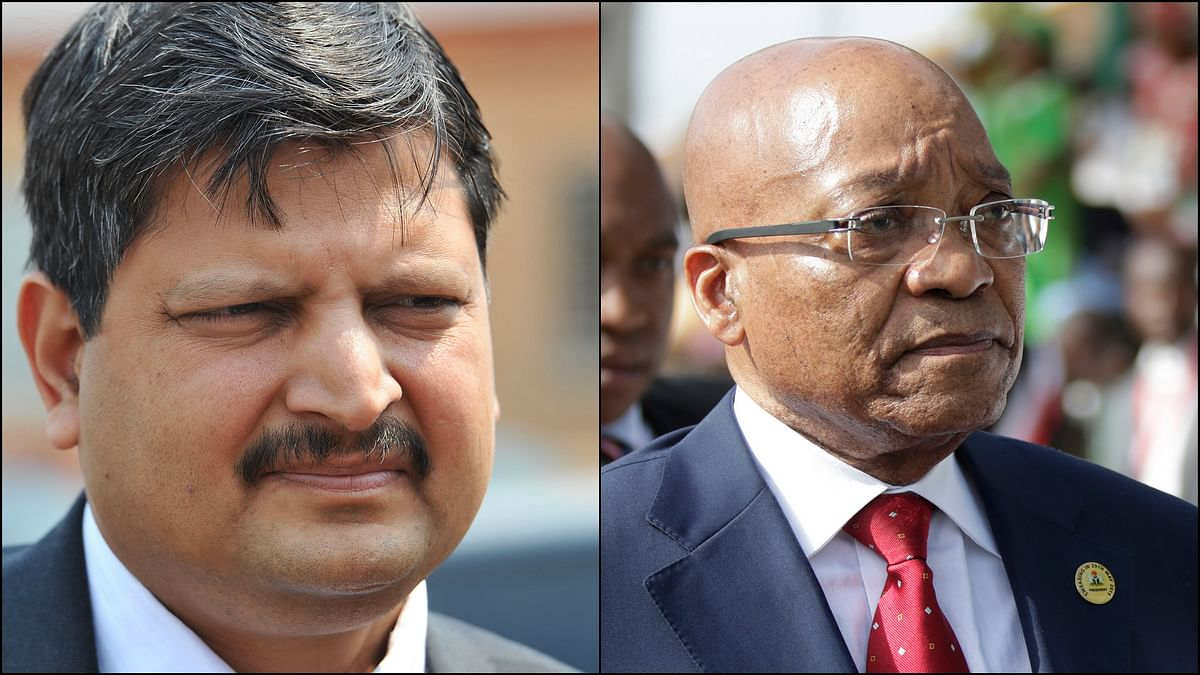 File image of Atul Gupta (L) outside magistrates courts in Johannesburg. The wealthy Gupta family has been criticised for allegedly improper links to president Jacob Zuma (R).