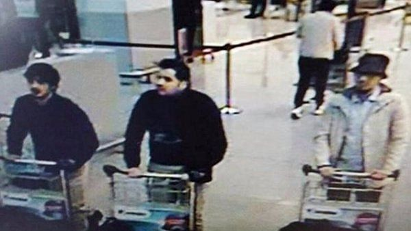 """TV grab showing the Brussels attackers. (Photo: <a href=""""https://twitter.com/ReutersTV/status/712939405552586752"""">Twitter</a>)"""