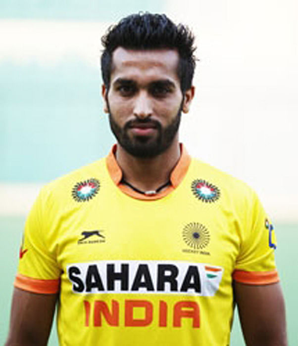The Indian hockey player Dharamvir Singh who recently completed his 100th international match - 9th April, Sultan Azlan Shah Cup 2015 match against Canada in Ipoh, Malaysia. (Photo: IANS)