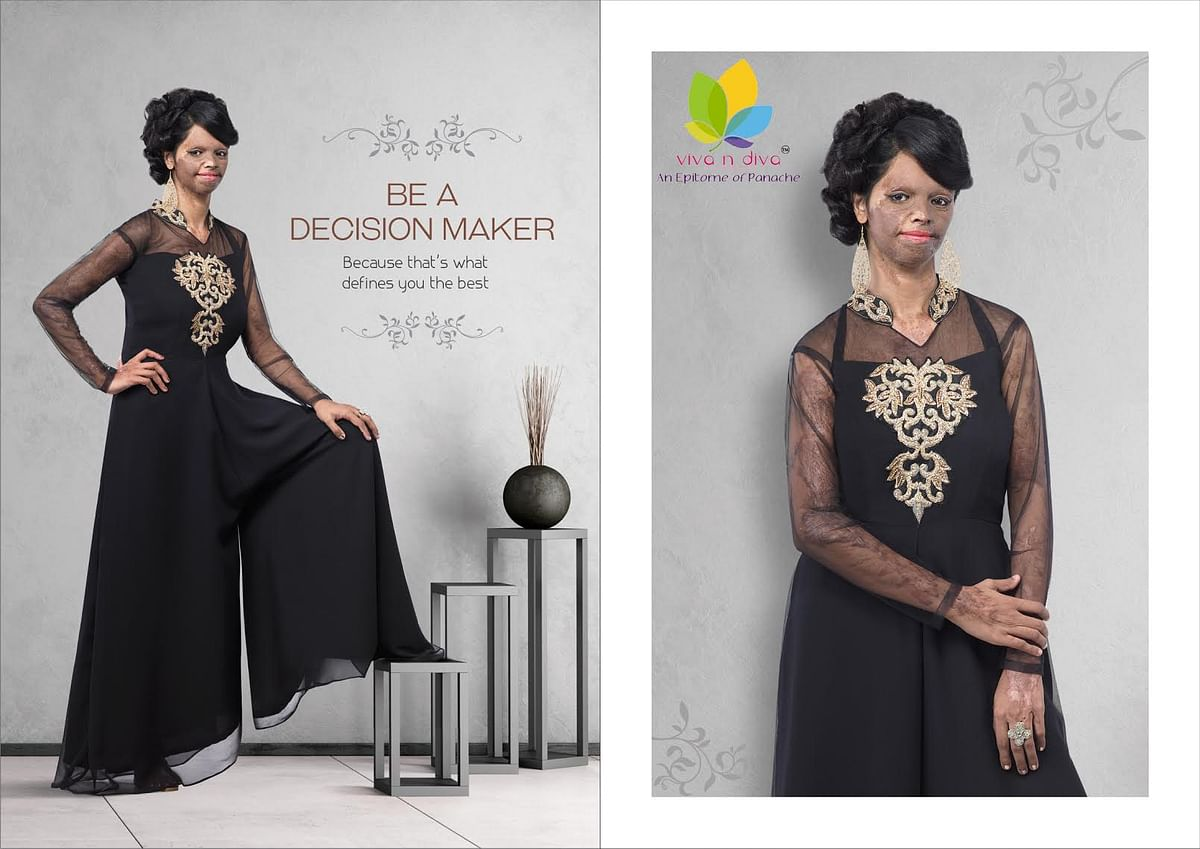 Acid attack survivor Laxmi' modelled for Viva-Diva's apparel launch. (Photo Courtesy: Viva-Diva)