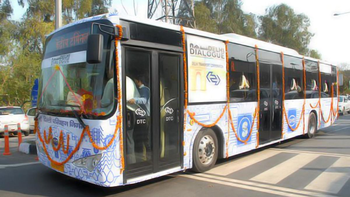"""Delhi gets India's first electric bus. (Photo courtesy: <a href=""""https://twitter.com/ashu3page/status/707933754413592576/photo/1"""">Twitter/@ashu3page</a>)"""