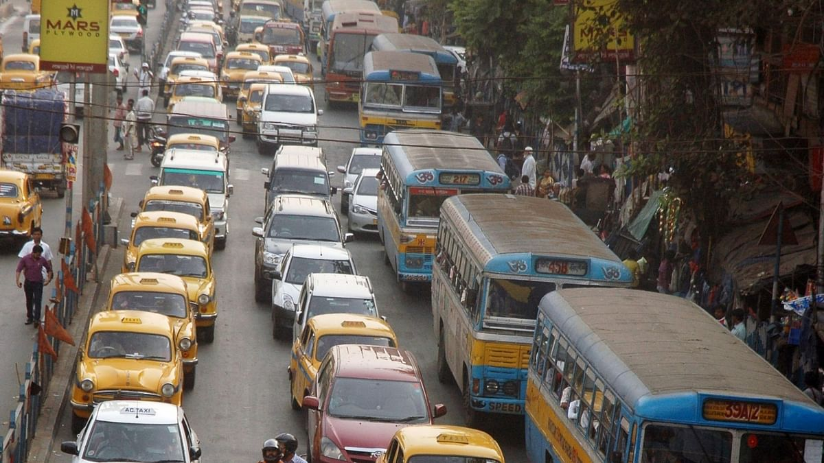 A traffic jam caused by a Trinamool Congress rally in Kolkata on March 18, 2016. (Photo: IANS)