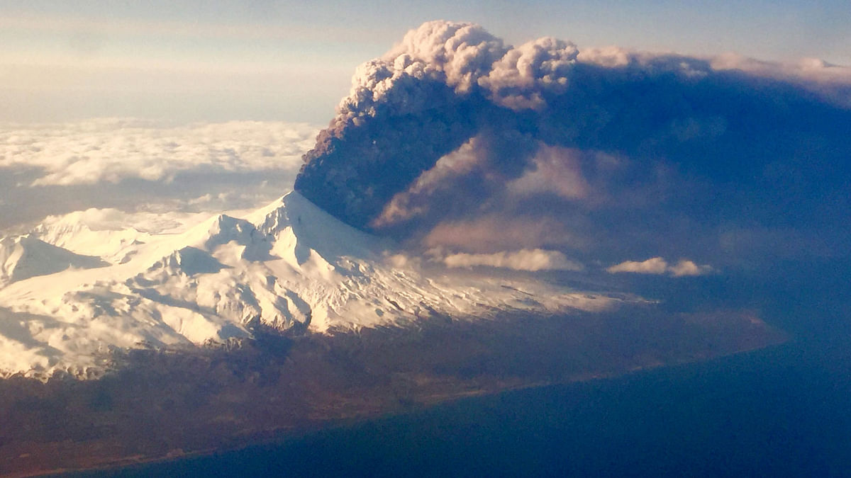 Pavlof Volcano, one of Alaska's most active volcanoes, erupts, sending a plume of volcanic ash into the air .Pavlof Volcano is 625 miles southwest of Anchorage on the Alaska Peninsula, the finger of land that sticks out from mainland Alaska toward the Aleutian Islands. (Photo:AP)