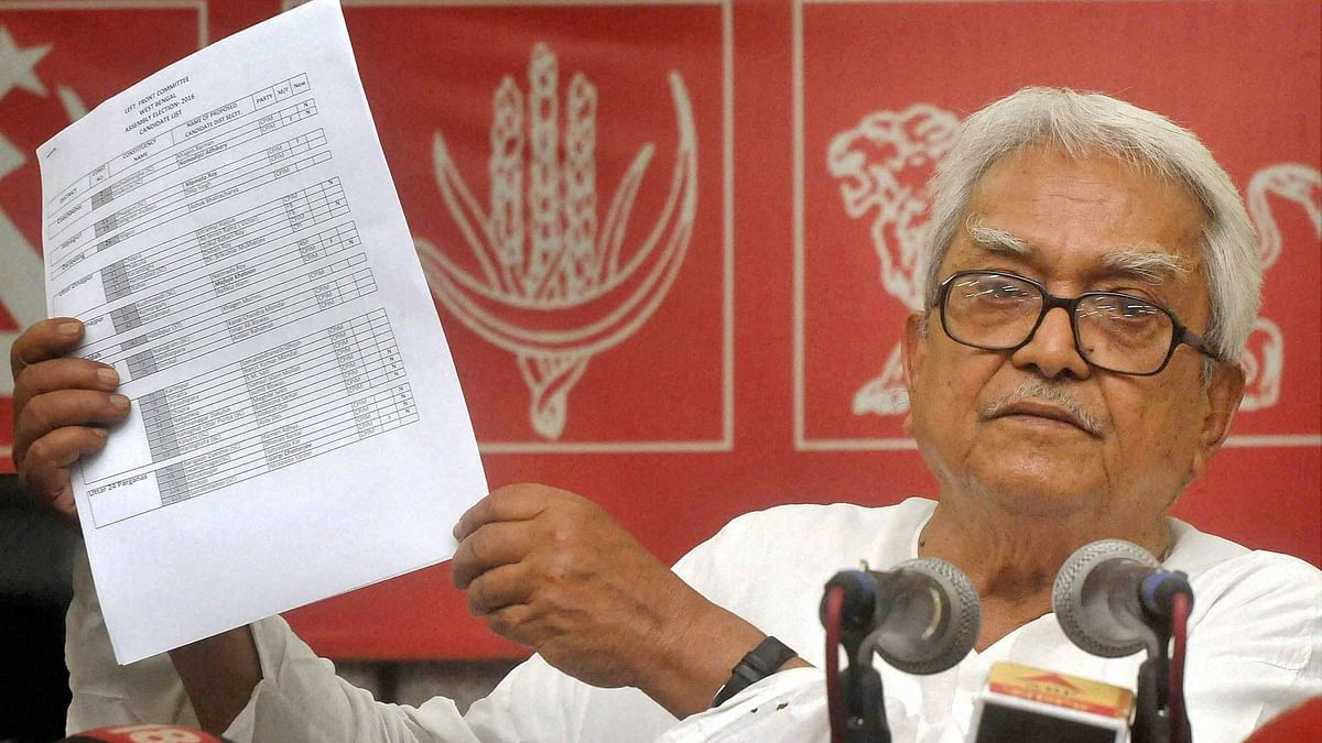 Left Front Chairman and CPI (M) Politburo member Biman Bose announcing left parties' candidates list. (Photo: PTI)
