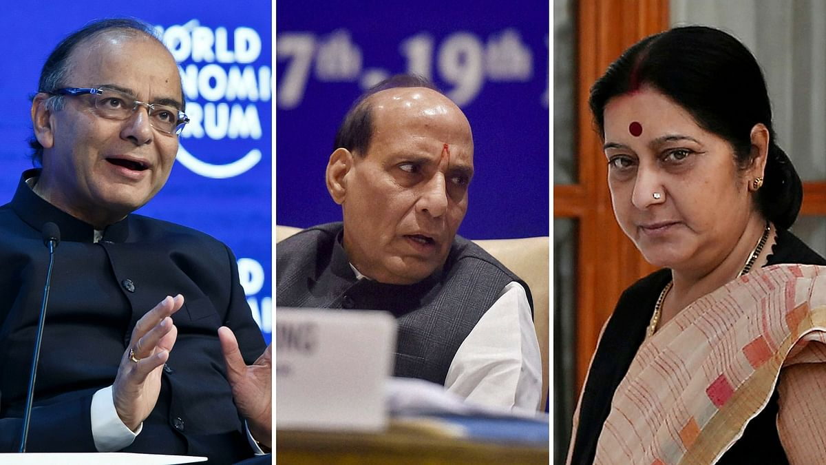 (Left to right) Finance Minister Arun Jaitley, Home Minister Rajnath Singh and External Affairs Minister Sushma Swaraj. (Photo: Reuters)
