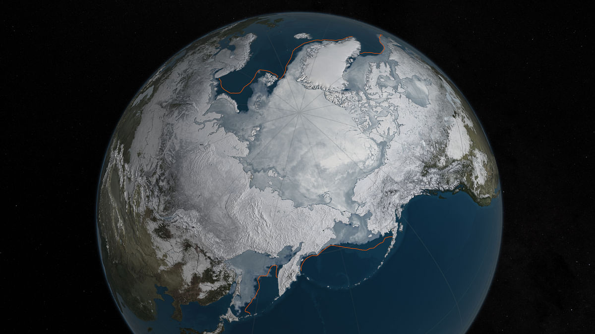 The winter maximum level of Arctic sea ice shrank to the smallest on record, thanks to extraordinarily warm temperatures,  scientists said. (Photo: AP/NASA)