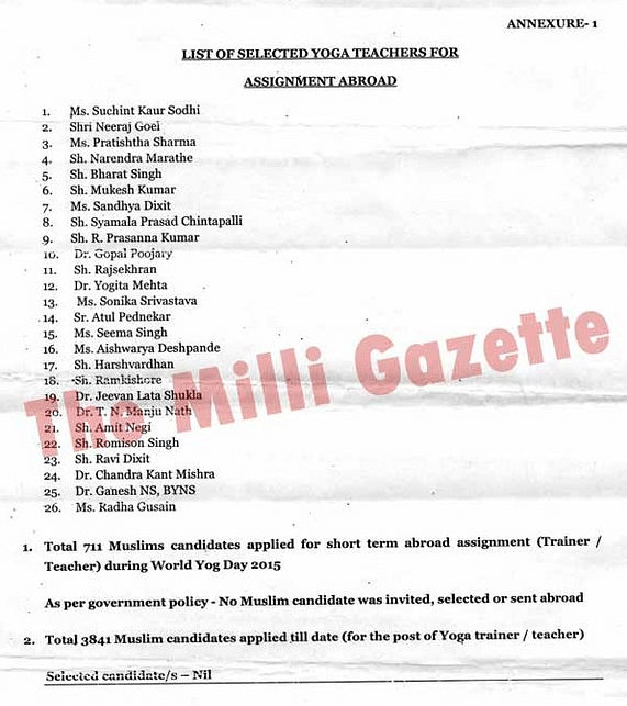 "(Source: <a href=""http://www.milligazette.com/news/13831-we-dont-recruit-indian-muslims-modi-govts-ayush-ministry"">The Milli Gazette</a>)"