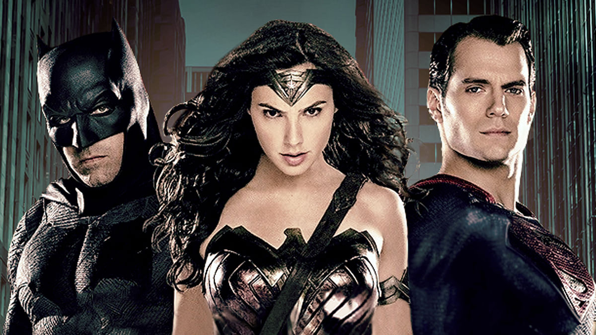 Ben Affleck, Henry Cavill and Gal Gadot in a promotional still from <i>Batman v Superman </i>