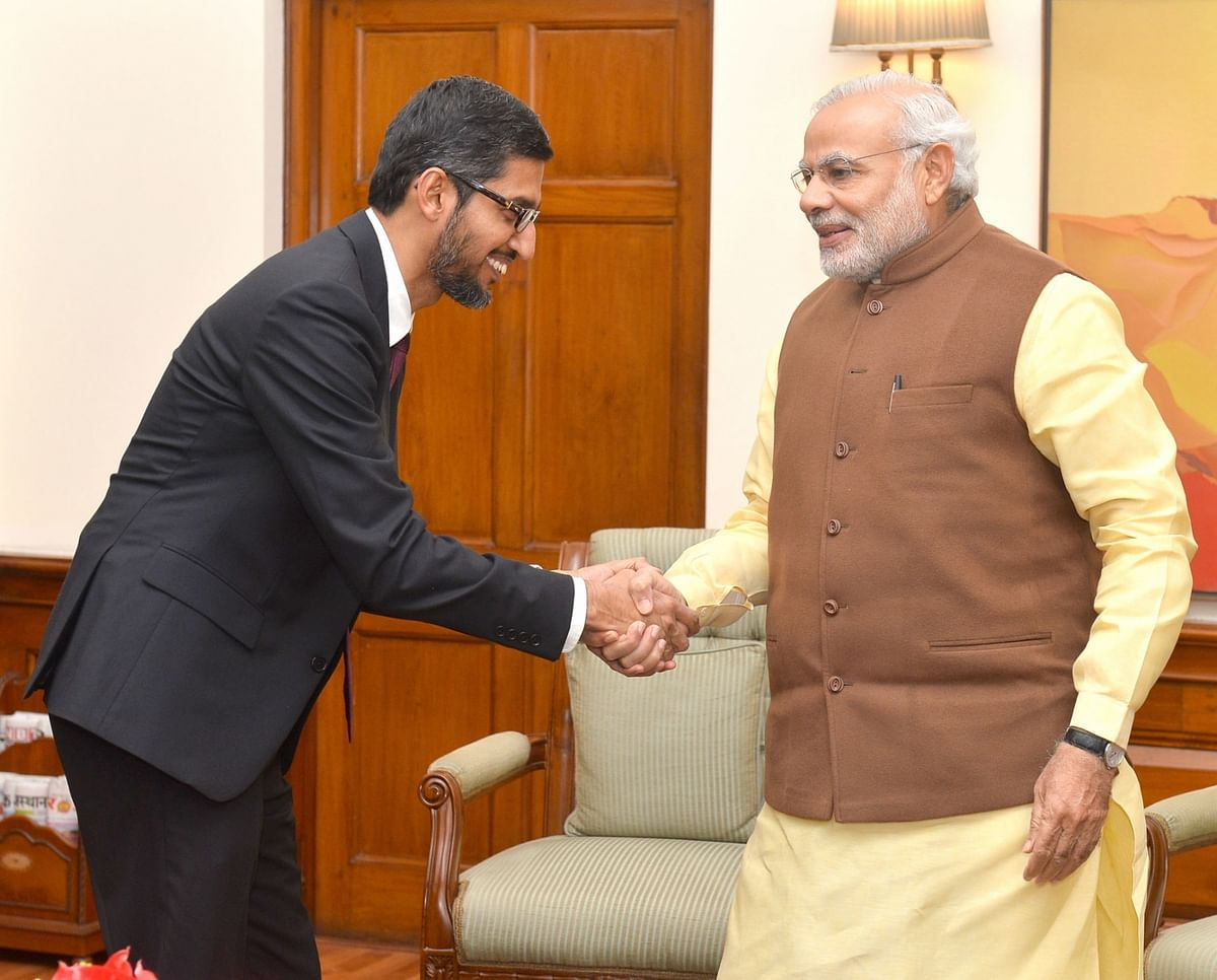 Sundar Pichai with Narendra Modi. (Photo: IANS)