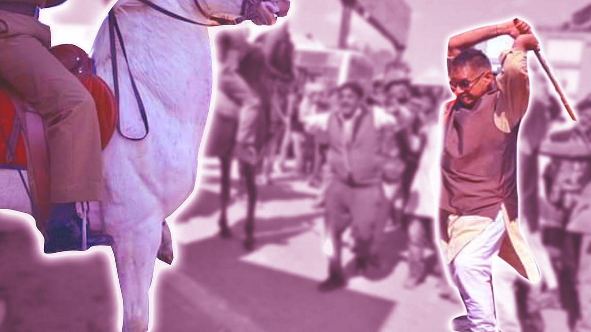 BJP MLA Ganesh Joshi raising a stick on police horse, Shaktiman (Photo: ANI, altered by The Quint)