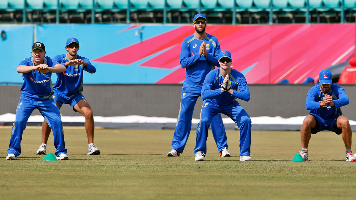 Australian team practices  ahead of its match against New Zealand during the ICC World Twenty20. (Photo: AP)