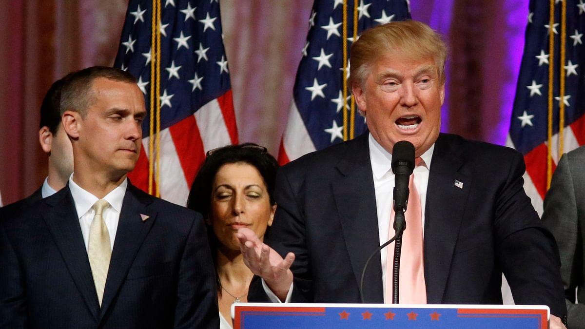 Corey Lewandowski (campaign manager) and Donald Trump at an event. (Photo: AP)