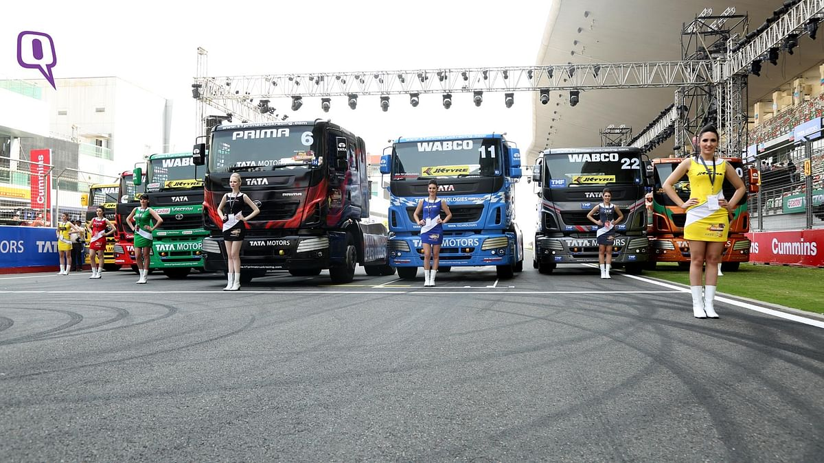 Tata T1 Prima race trucks lined up at the grid. (Photo: <b>The Quint</b>)