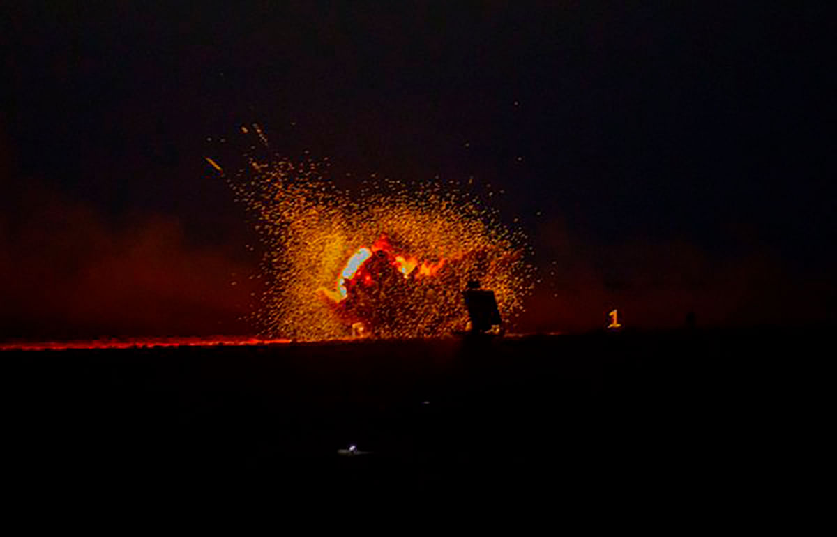 """Firepower at play: target destruction at night. (Photo Courtesy:<a href=""""https://twitter.com/PIB_India/status/710852064872509441""""> Twitter</a>)"""