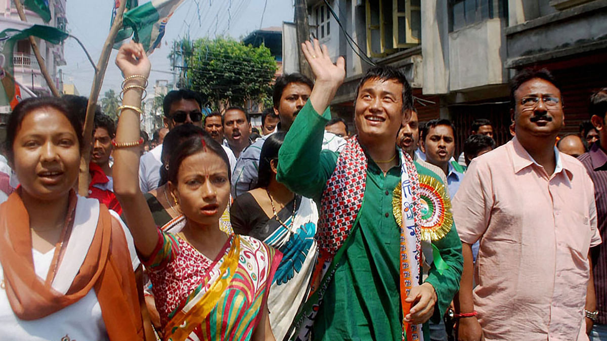 Footballer Baichung Bhutia during an election rally in Darjeeling. (Photo: PTI)