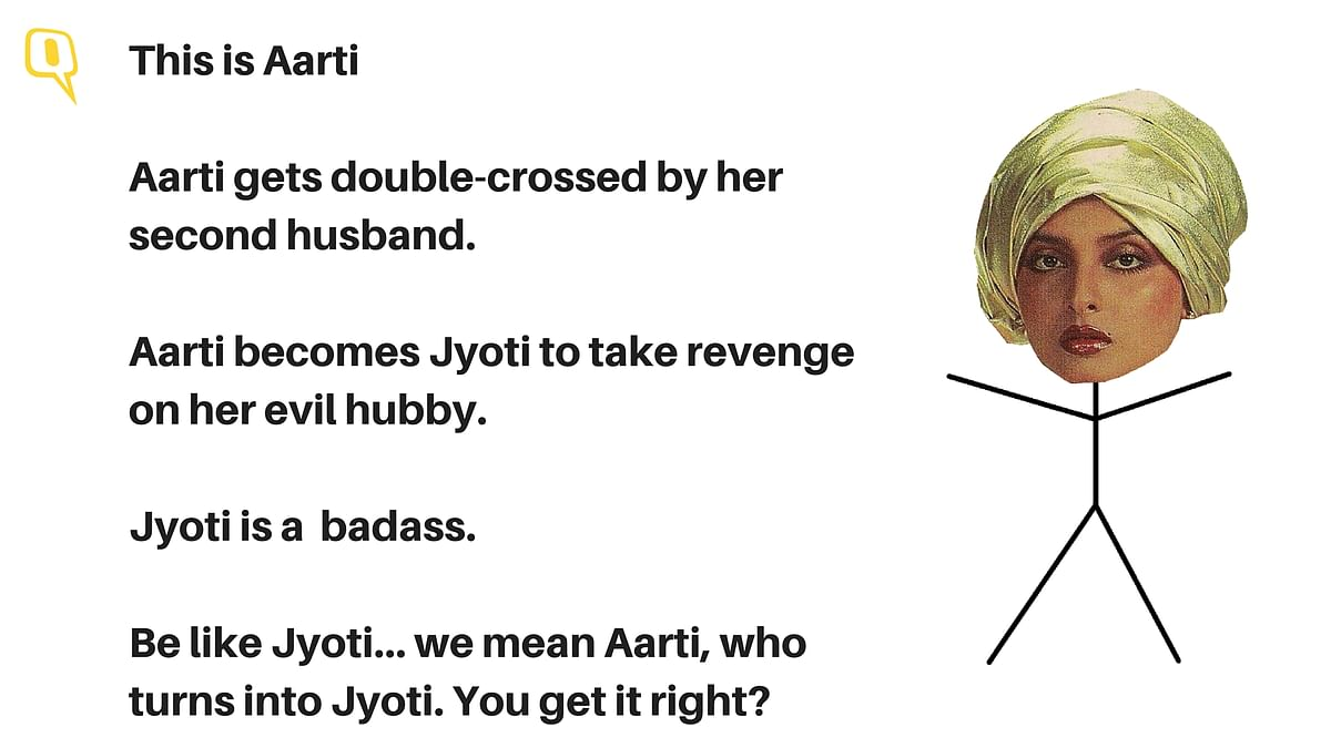 Rekha plays Jyoti/Aarti in <i>Khoon Bhari Maang</i>
