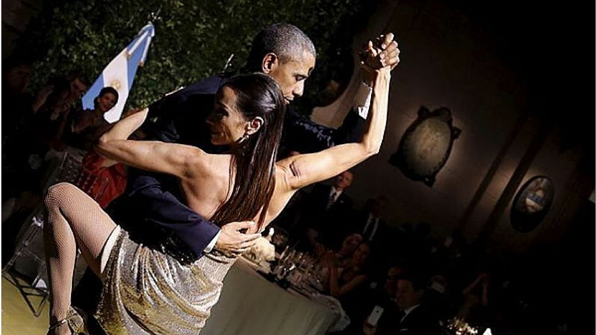 "President Obama tangos with a professional dancer at a State Dinner in Argentina. (Photo: YouTube/<a href=""https://www.youtube.com/watch?v=Yv-5t_Wp0rc"">CBSN</a>)"