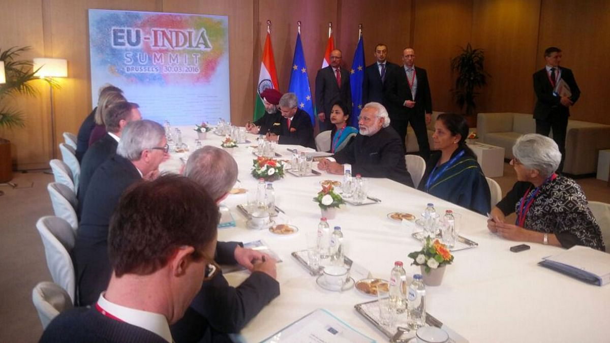 "Restricted meeting at the 13th India-EU summit on Wednesday, 20 March 2016. (Photo Courtesy: <a href=""https://twitter.com/MEAIndia/status/715192468245860353"">Twitter.com/@MEAIndia</a>)"
