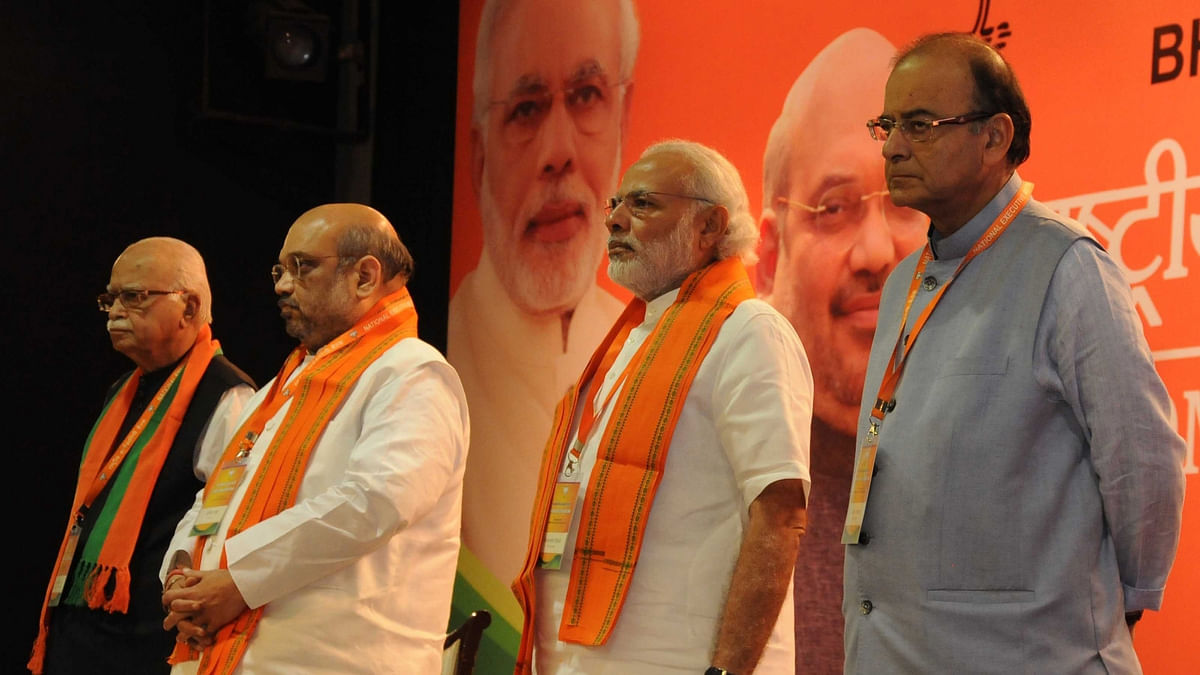 BJP's leadership at the party's National Executive in Delhi. (Photo: IANS)