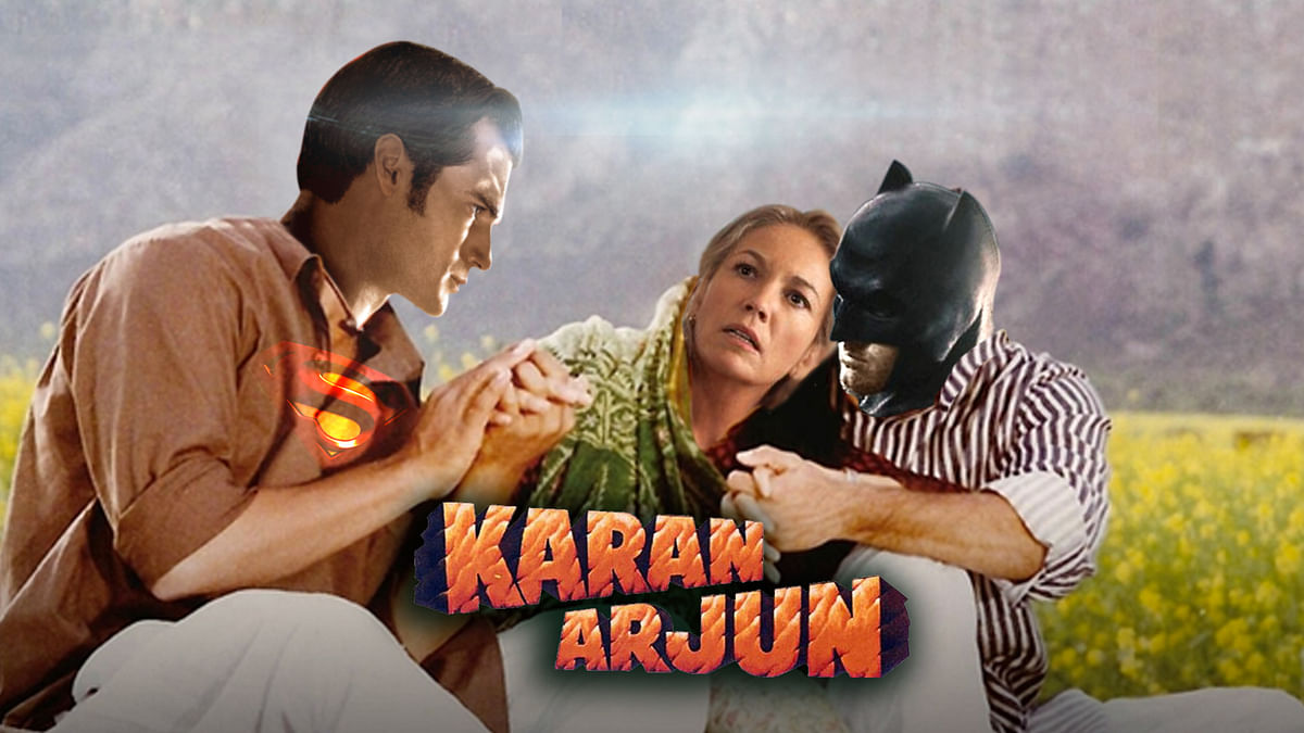 Superman-Batman aka Karan Arjun. (Photo: Rahul Gupta/ <b>The Quint</b>)