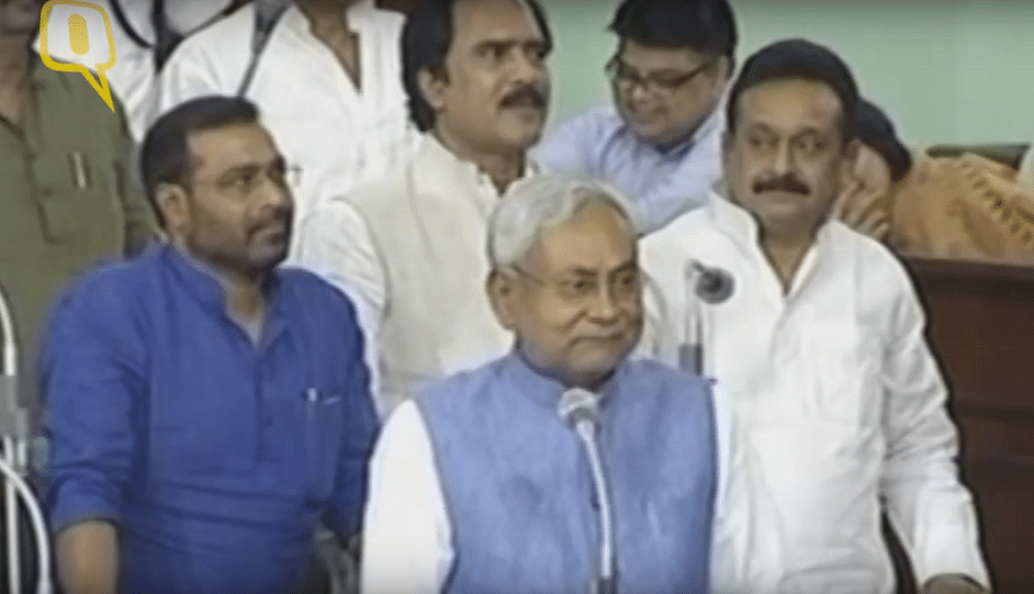 Nitish Kumar at Bihar assembly while adopting a resolution against consumption of alcohol. (Photo: ANI)