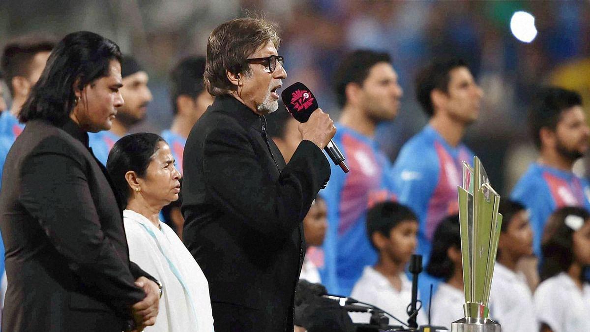 Amitabh Bachchan singing national anthem before the start of India vs Pakistan World T20 match at Eden Gardens in Kolkata on Saturday. (Photo: PTI)